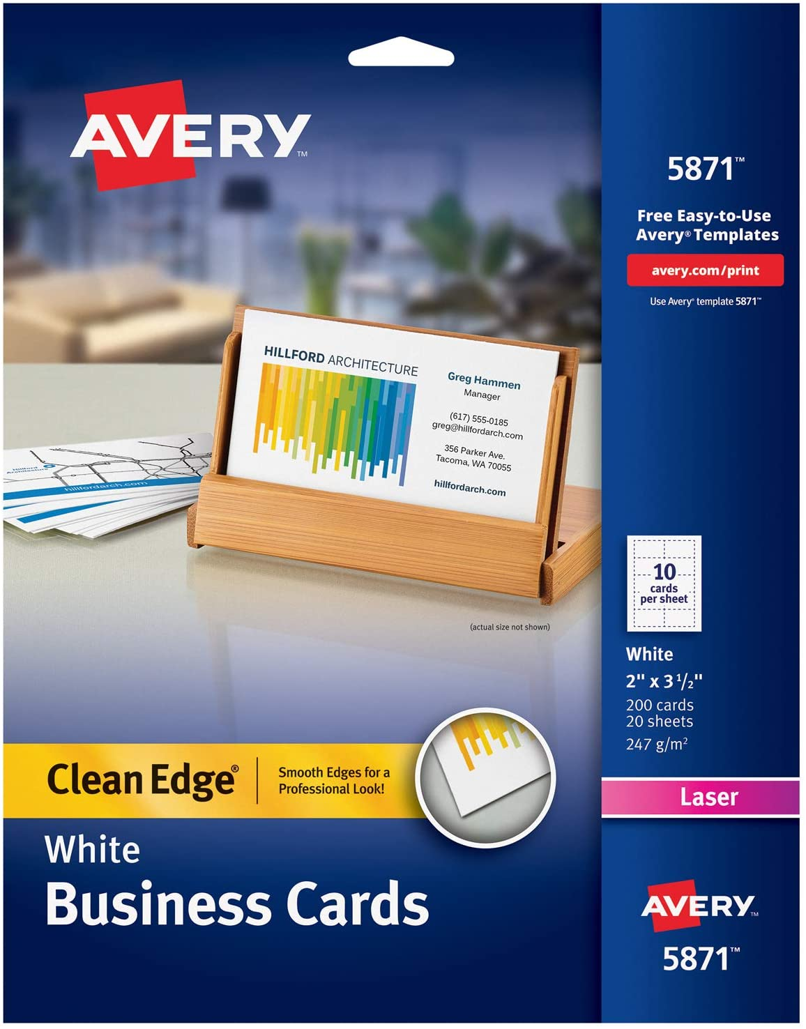 Avery Printable Business Cards, Laser Printers, 200 Cards, 2 x 3.5, Clean Edge (5871) : Business Card Stock : Office Products