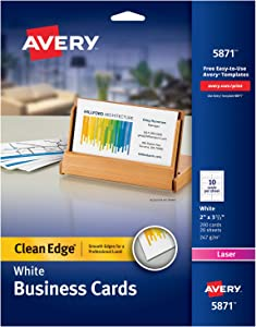 Avery Printable Business Cards, Laser Printers, 200 Cards, 2 x 3.5, Clean Edge (5871)