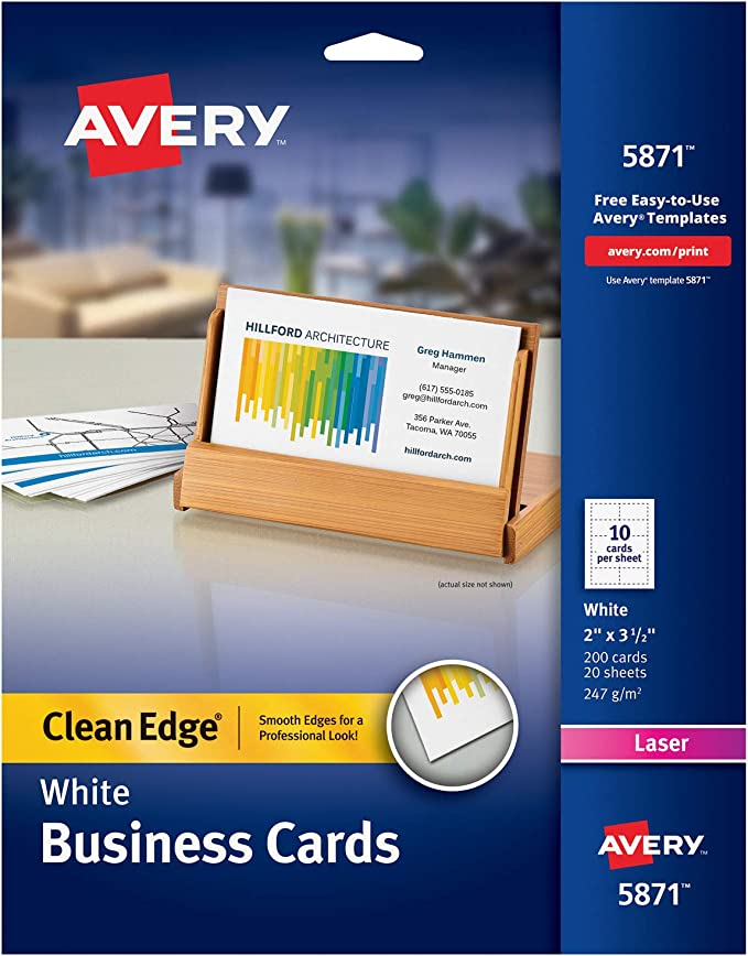 Avery Printable Two Side Clean Edge Business Cards For Laser