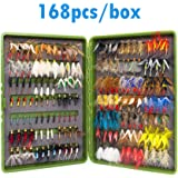 168PCS Moscas De Pesca - WS Ninfa Streamer Poper Emerger Fly Tying Kit Material caja de pesca Tackle cebos para trucha de pesca