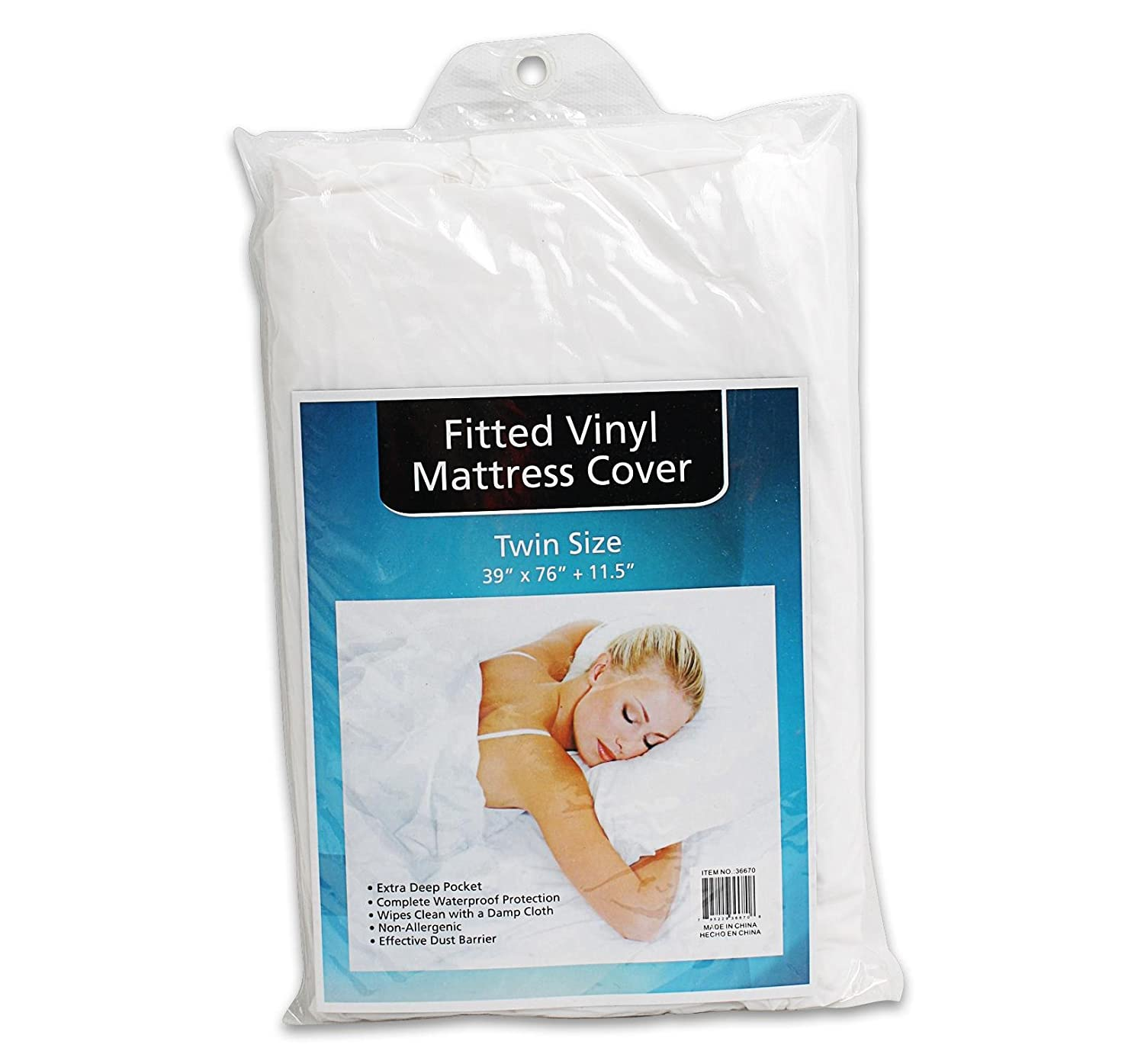 Plastic White Twin Size Mattress Cover Protector Vinyl Sheet , 39