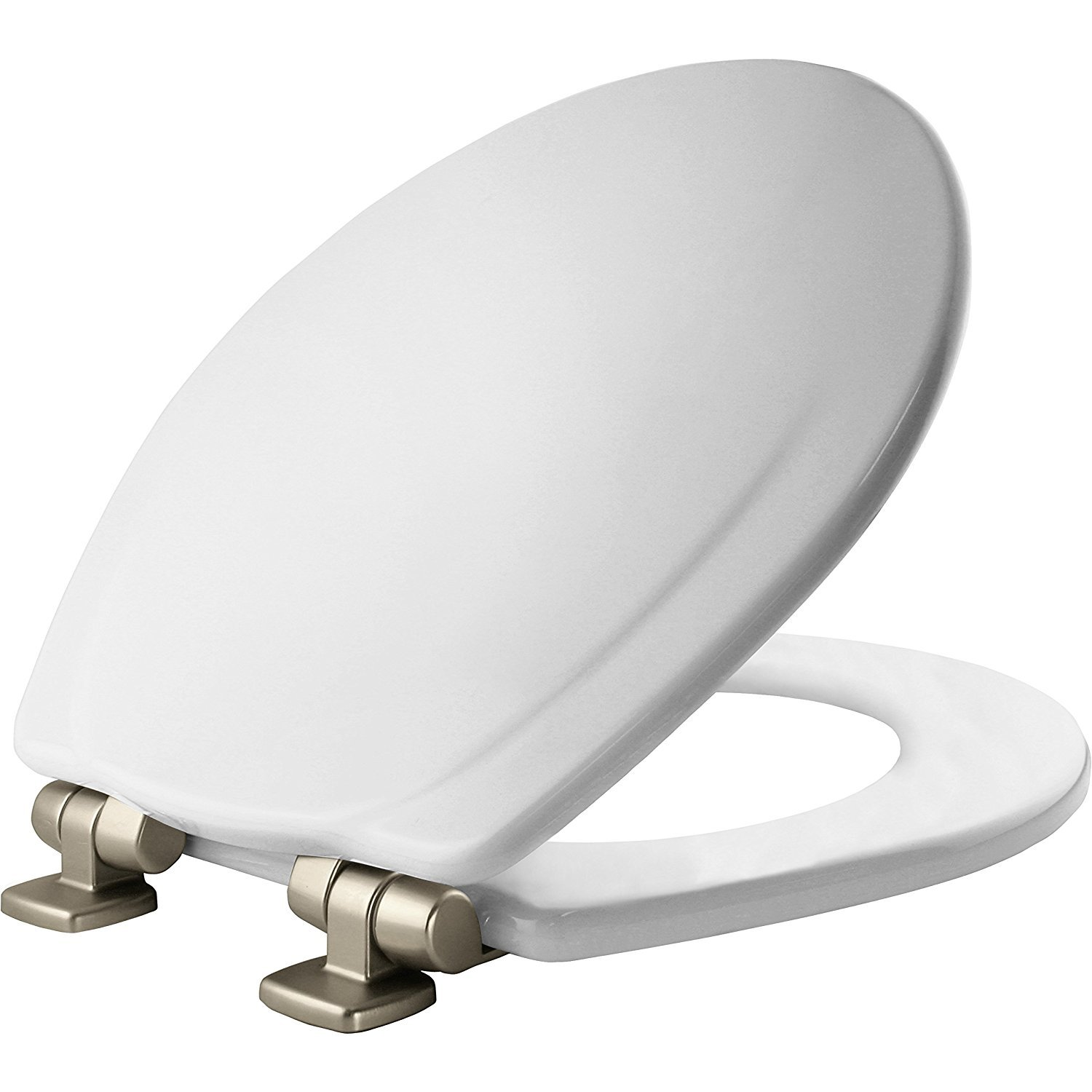 Mayfair Molded Wood Toilet Seat featuring Slow-Close, STA-TITE Seat Fastening System and Brushed-Nickel Metal Hinges, Round, White, 30NISLB 000