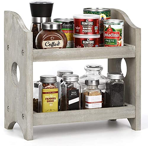2 Tier Wood Standing Rack Shelf Holder Spice Rack Countertop Storage Organizer for Kitchen Bathroom Office Rustic Style