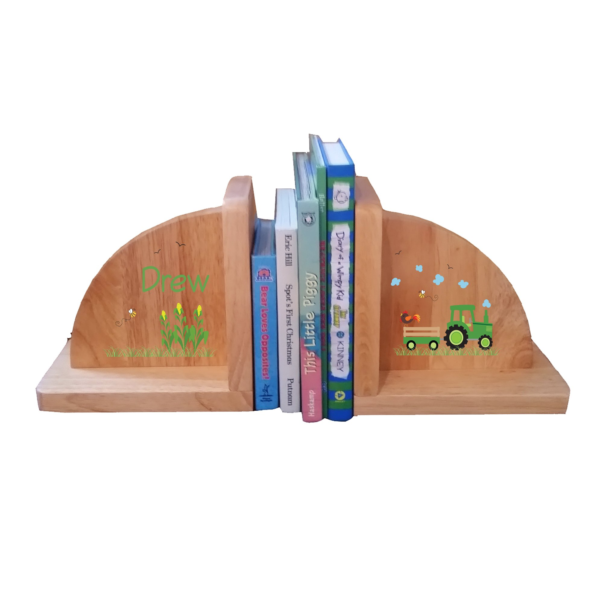 Personalized Green Tractor Natural Childrens Wooden Bookends