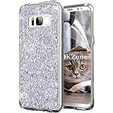 OKZone Cover Samsung Galaxy S8 Custodia Lucciante con Brillantini Glitters Ultra Sottile Designer Case Cover per Samsung Galaxy S8 (Argento)