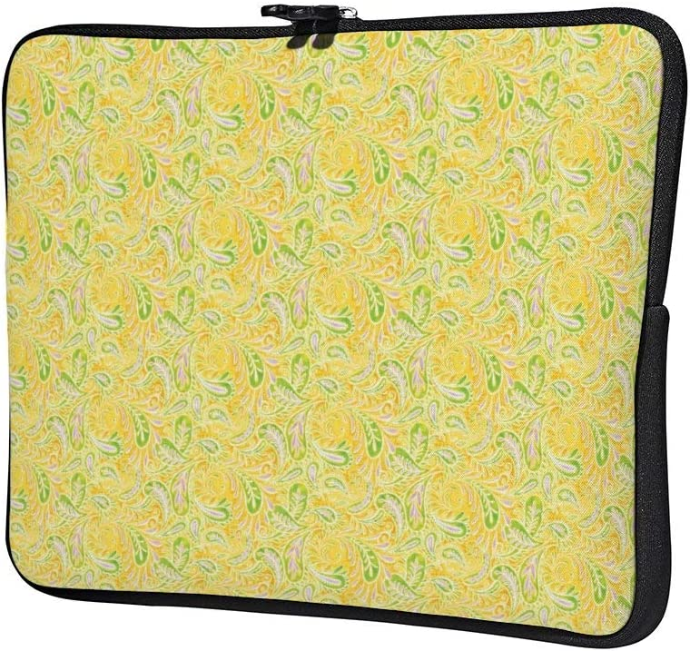 Paisley Yellow Green and Purple Pattern Laptop Sleeve Water Repellent Neoprene Bag Protective Case Cover Compatible with MacBook Pro//Asus//Dell//Hp//Sony//Acer 15 Inch