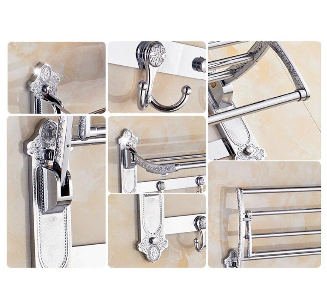 GL&G European luxury Silver Bathroom Bath Towel Rack Double Towel Bar Bathroom Accessories Bathroom Storage Organizer Shelf Bathroom Shelf Shower Wall Mount Holder Towel Bars,6023.513.5cm by GAOLIGUO (Image #4)