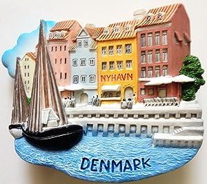 Nyhavn Harbor in Copenhagen Denmark Resin 3D fridge Refrigerator Thai Magnet Hand Made Craft. by Thai MCnets