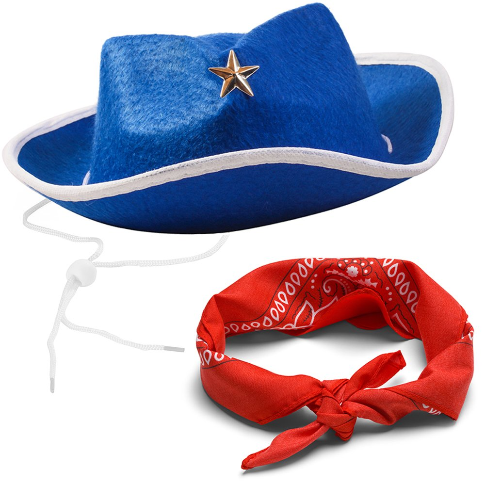 Amazon.com  Funny Party Hats Sheriff Cowboy Hat - Cowboy Hat and Bandana -  Cowboy Costumes - Western Costumes for Kids  Toys   Games ed318f15dd3