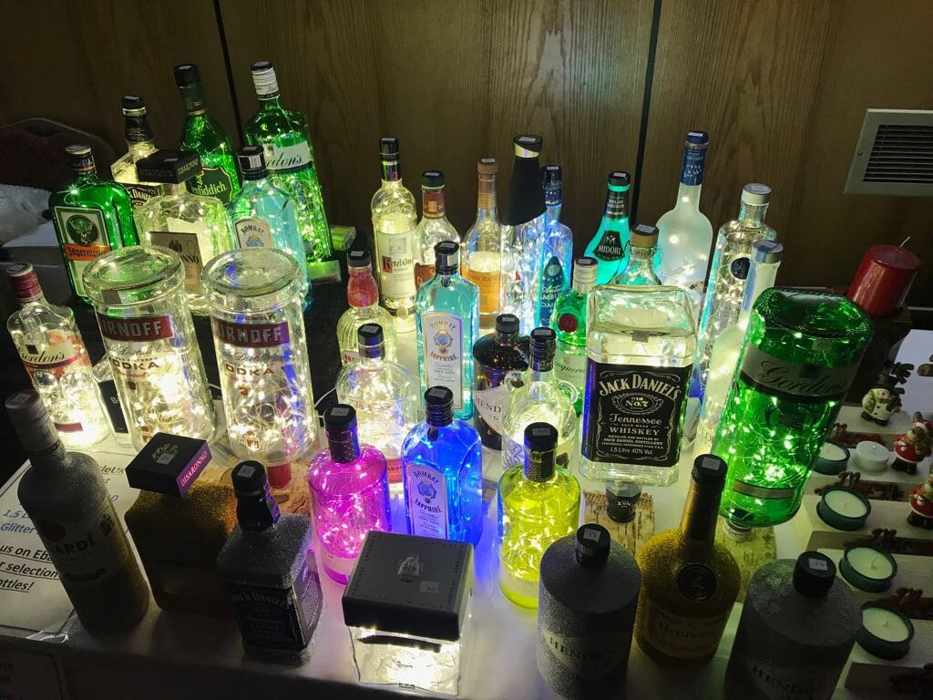 50 Mcro LEDS Hendricks Gin Beauiful Vintage Looking bottle Lamp.