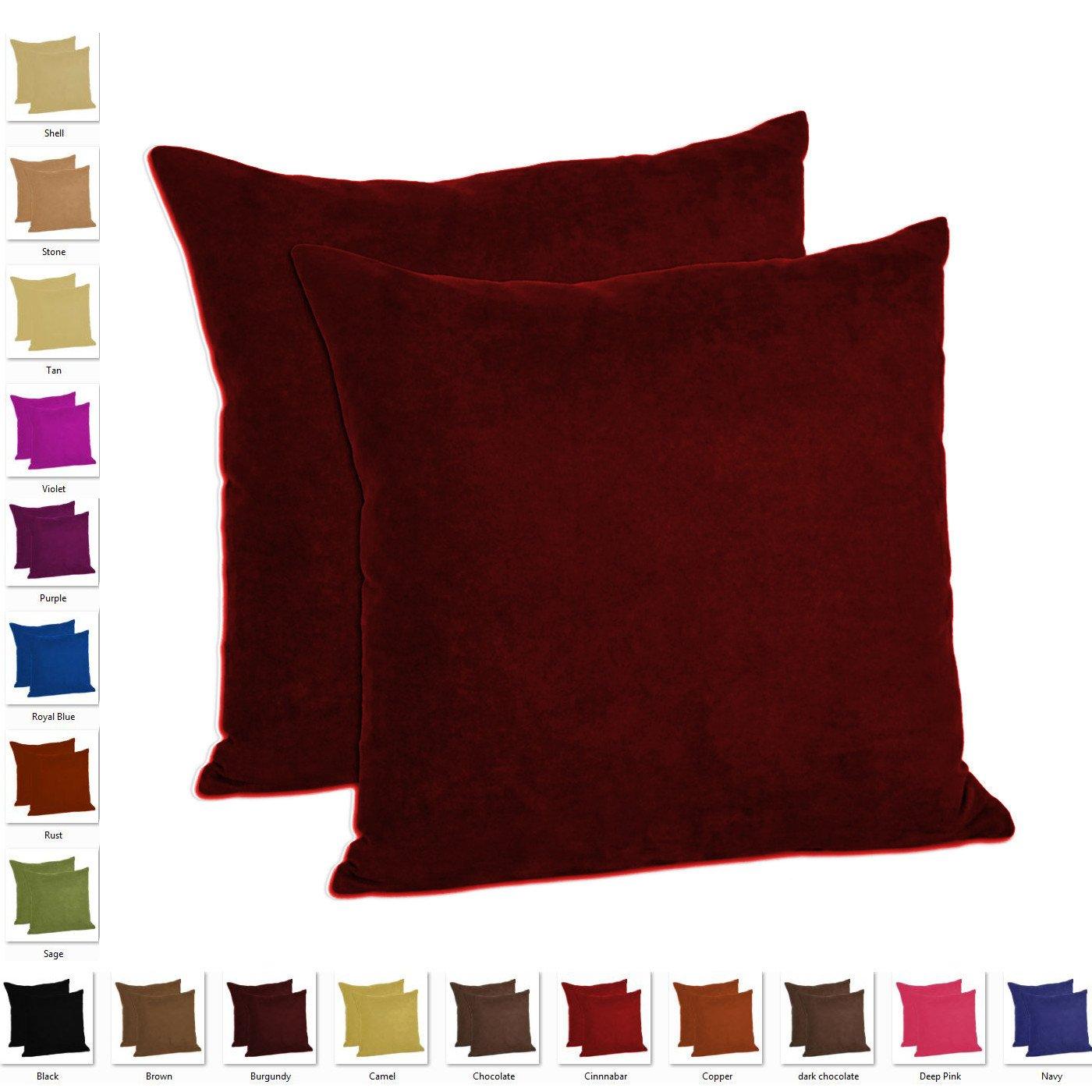 MoonRest - Set of 2 – Microfiber Decorative Pillow, Fully Assembled with Hidden Zipper (18''x18'', Burgundy)