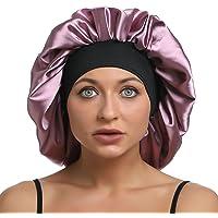 Satijnen slaapmuts dames groot satijn motorkap zijde nachtmuts elastische band satijn bonnet Night Cap voor krullend…