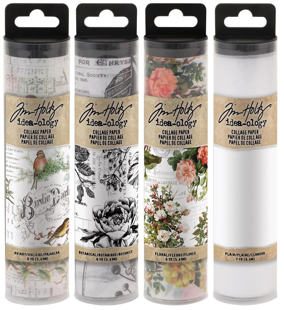 Tim Holtz Idea-Ology Collage Paper - Aviary, Botanical, Floral and Plain - 4 Rolls Tim Holtz Advantus 4336865687