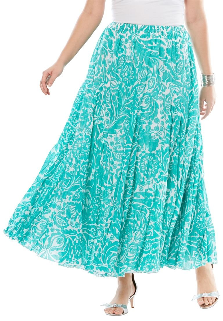Jessica London Women's Plus Size Cotton Crinkled Maxi Skirt Pretty Jade
