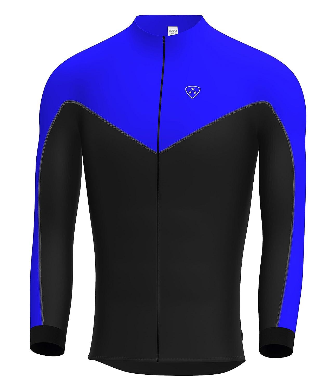 Deportes Hera Ropa Ciclismo Maillot Mangas largas Camiseta de Ciclistas de Invierno Color Azul//Negro