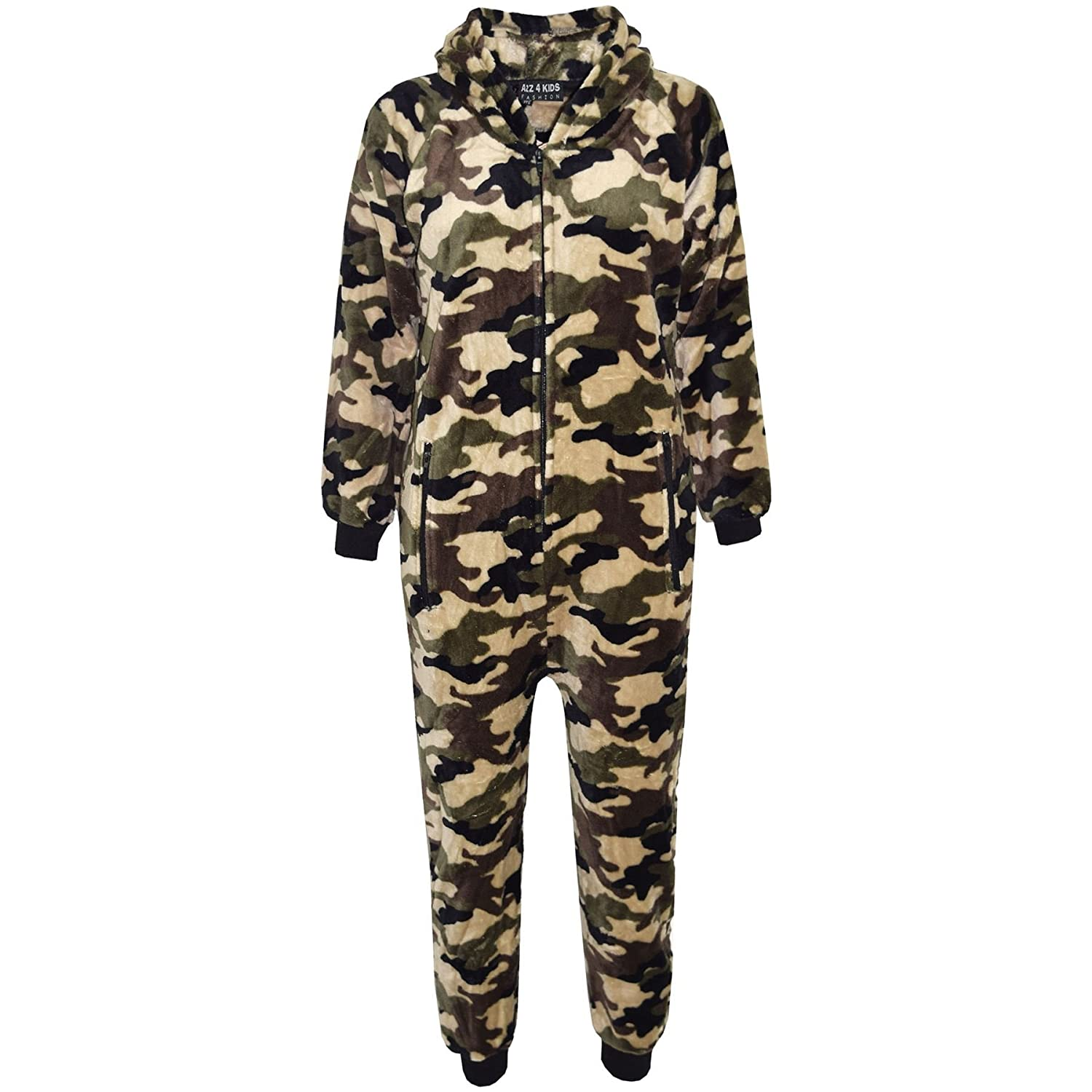 A2Z 4 Kids® Kids Girls Boys Onesie Extra Soft Fluffy Camouflage All in One Halloween Costume New Age 7 8 9 10 11 12 13 14 Years