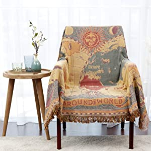 MayNest World Map Throw Blanket Reversible Hippie Bohemian Vintage Yellow Red Knitted Large Fringed Cotton Woven Tapestry Colorful Boho Fantasy Rug Sofa Loveseat Chair Recliner Couch Cover (S: 51x71)