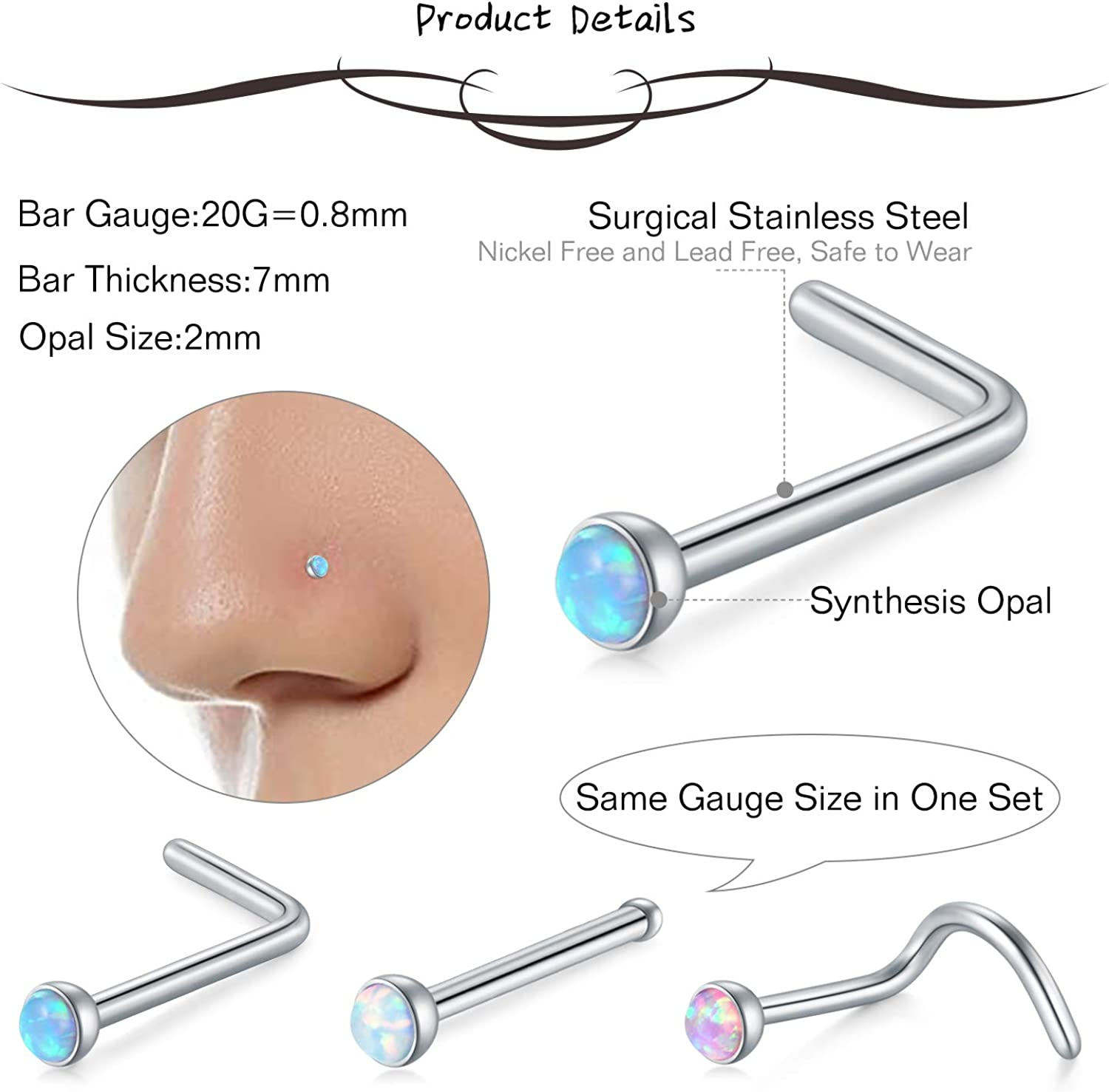 AceFun 24 Pcs 20G Nose Rings Studs Surgical Steel Nose Nostril 2MM CZ Opal Inlaid Nose Studs Screw Piercing Jewelry for Women Men Girl