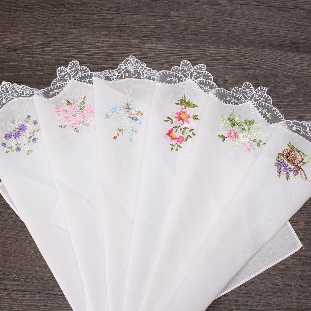 TanQiang Embroidered Butterfly Lace Flower Hankies 6PCS Vintage Cotton Women Napkin Floral Assorted Cloth Portable Ladies Handkerchief