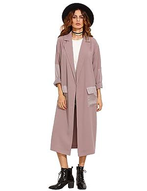 Verdusa Women's Long Sleeve Lightweight Duster Open Front Long Cardigan Trench Coat Purple XS