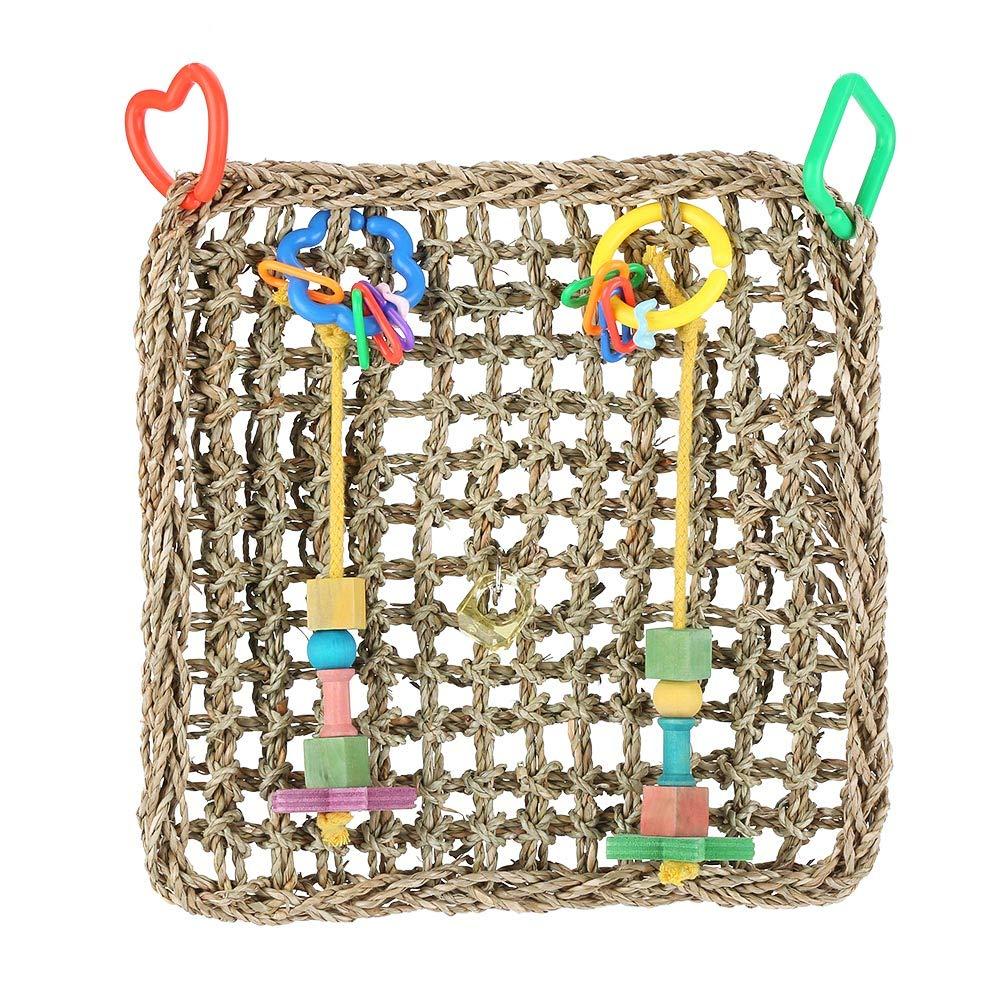 Haofy Pappagallo rete da arrampicata Pet Bird Altalena corda pesante masticare amaca appesa giocattoli gabbia di paglia con ciondolo in legno