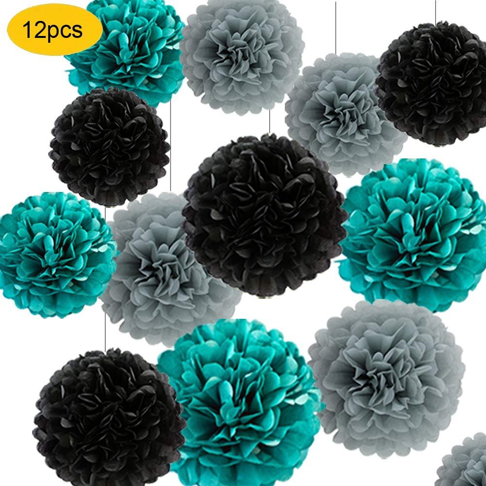 12pcs Tissue Paper Pom Poms - Teal Grey Black Paper Flowers 8inch 10inch Tissue Paper Balls,Best for Baby Shower Decorations & 1st birthdays wedding partis