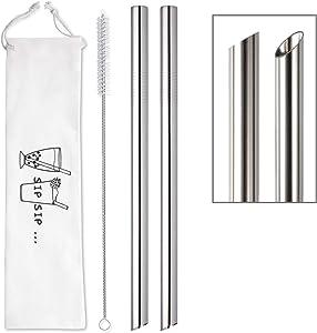 [Angled Tips] 2 Pcs Jumbo Reusable Boba Straws & Smoothie Straws, 0.5