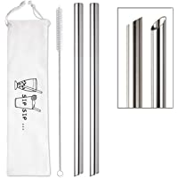 "[Angled Tips] 2 Pcs Jumbo Reusable Boba Straws & Smoothie Straws, 0.5"" Wide Stainless Steel Straws, Metal Straws for…"