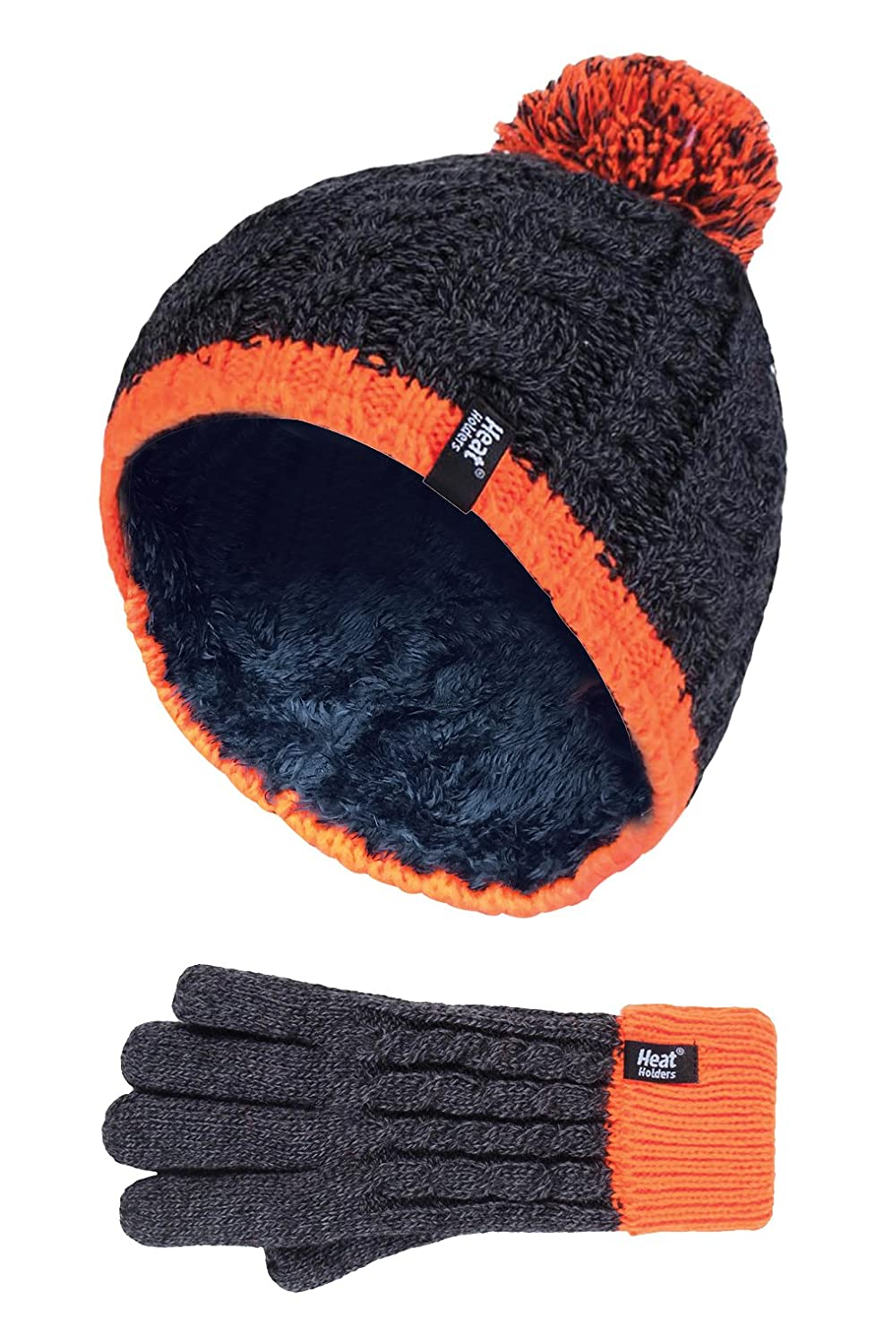 Heat Holders - Kids Boys Knitted Winter Pom Pom Cold Weather Hat and Gloves Set CO1P7)