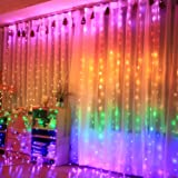 300 LEDCurtain Colorful String Lights, RGBFairy Lights Color Changingwith Remote , Twinkle Rainbow Christmas Icicle Lights