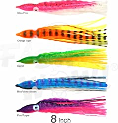 "25pcs 8/"" Squid Skirt Octopus 8 inch Wave Hoochies Rock Fish soft Lure 5-color"