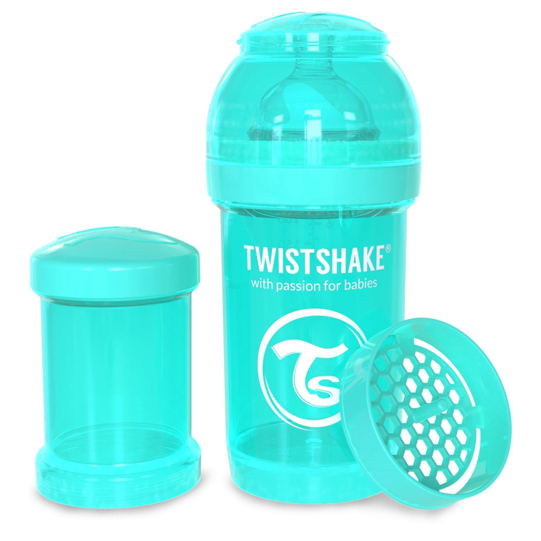 Twistshake - Biberón anticólico tetina silicona (180 ml.) turquesa