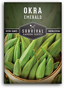 Survival Garden Seeds - Emerald Okra Seed for Planting - Packet with Instructions to Plant and Grow Your Home Vegetable Garden - Non-GMO Heirloom Variety