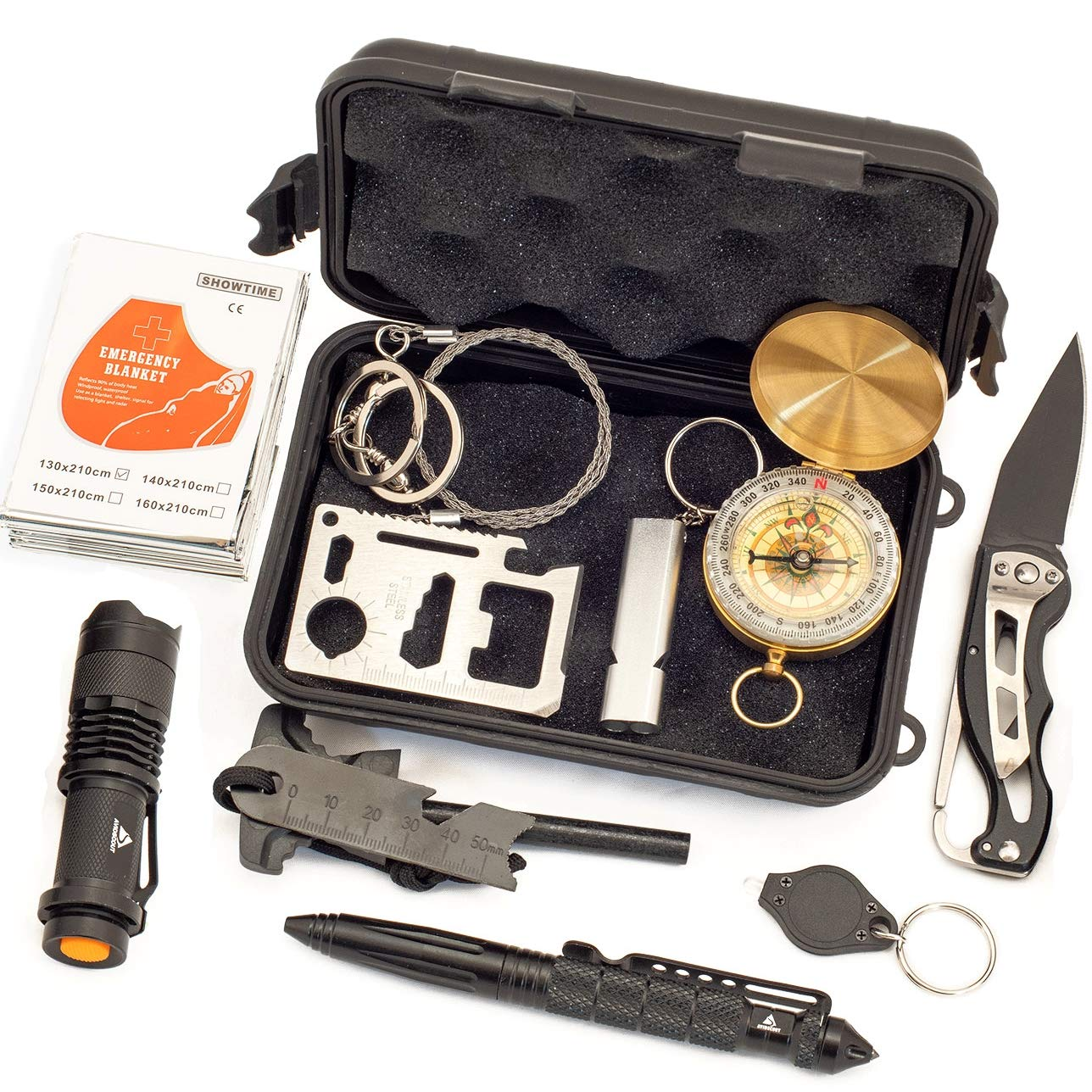 AvidScout Emergency Survival Kit - Life Saving Tools in a Compact Waterproof Case - Flashlights, Compass, Fire Starter, Multi-tool, Blanket and more. For Camping Hiking Biking Hunting Fishing... by AvidScout