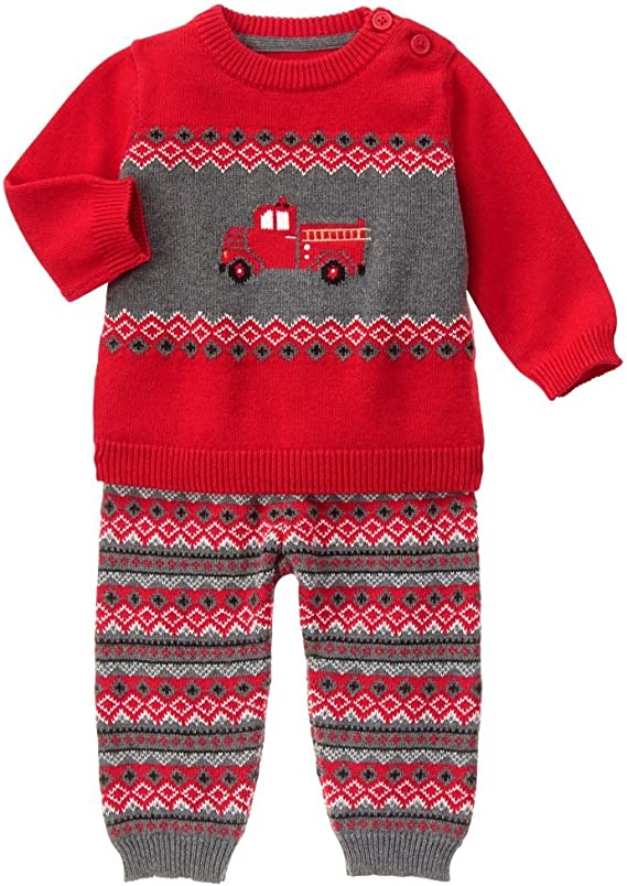 Gymboree Baby Boy Firetruck Outfit Sweater /& Pants