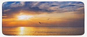 """Ambesonne Birds Kitchen Mat, Early Morning Sunrise Over The Ocean and a Bird Horizon Nature Panoramic View, Plush Decorative Kitchen Mat with Non Slip Backing, 47"""" X 19"""", Orange Blue"""