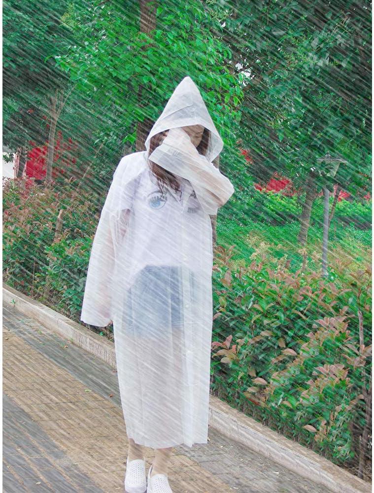 Huture 2PCS Impermeabile riutilizzabile di emergenza Poncho Giacca da pioggia Mantella Felpe cappuccio per eventi Maltempo Allaperto Adulti Donne Uomini Sopravvivenza di viaggio Divertimento,Bianco