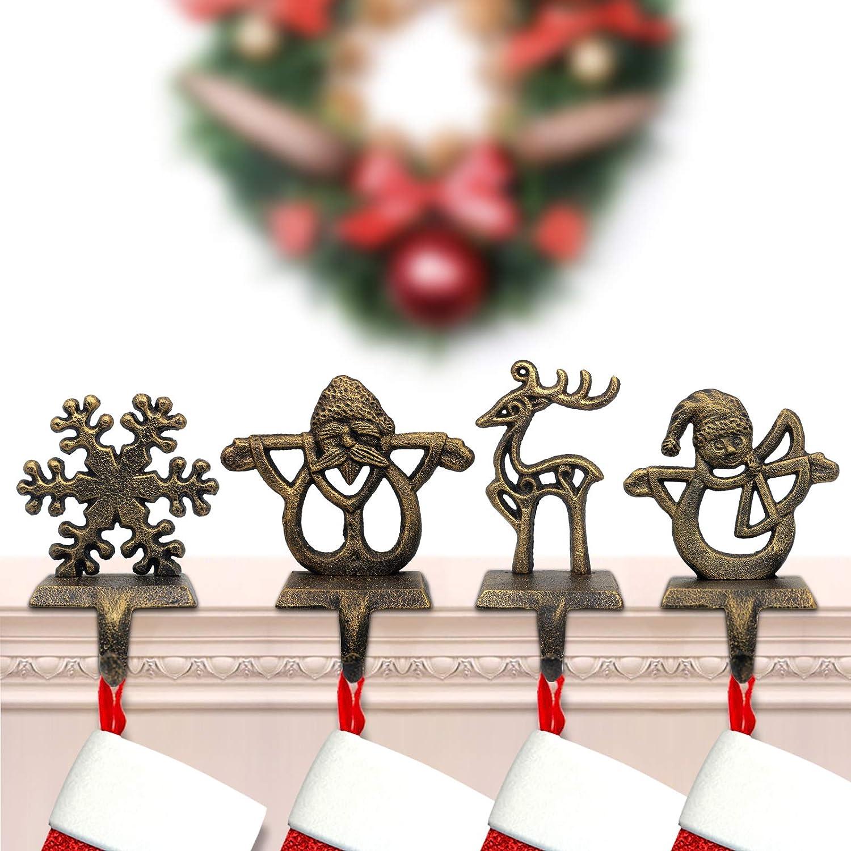 PPNZQAUT Retro Christmas Stocking Holders 4-Pack Indoor Christmas Stocking Hangers for Mantel Fireplace Christmas Decorations Stocking Hangers Reindeer Santa Snowman Snowflake Metal Stocking Hooks