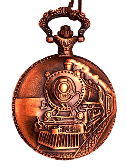 Train Copper Dangle Pendant Quartz Pocket Watch