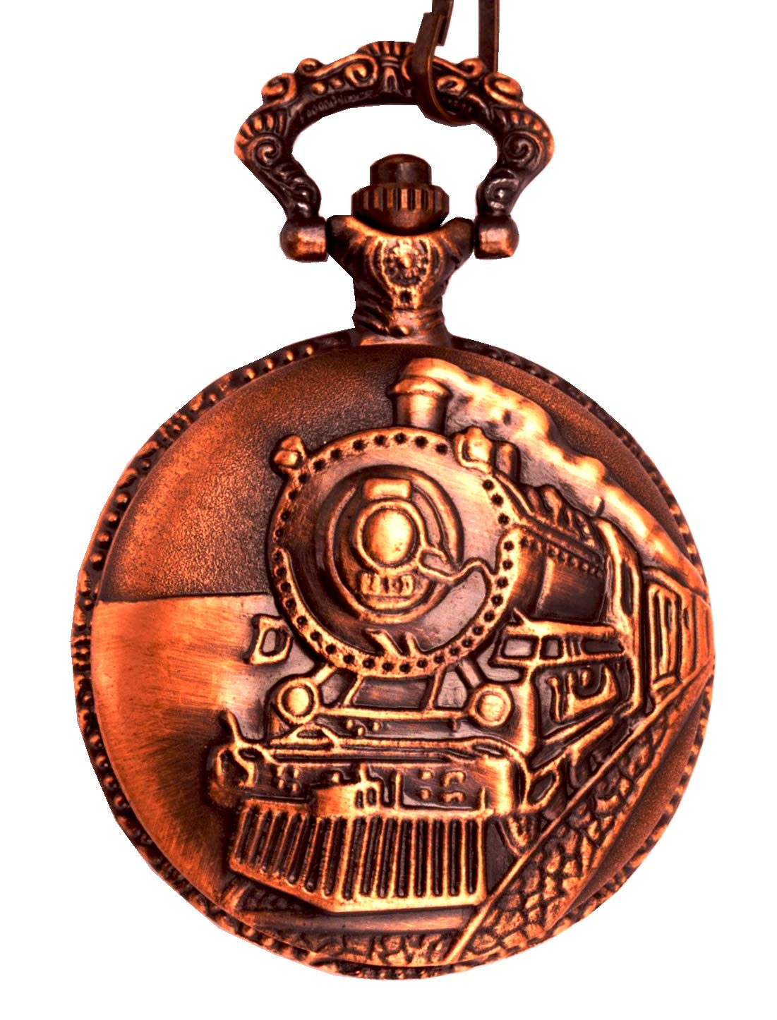 Skeleton Steam Vintage Train Copper Dangle Quartz Pocket Watch