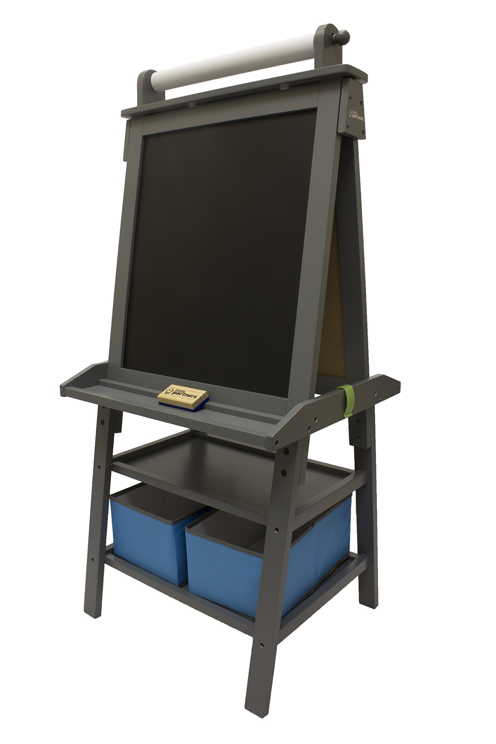 Little Partners 2-Sided A-Frame Art Easel with Chalk Board, Magnetic Dry Erase, Storage, Paper Feed and Accessories for Toddlers, Earl Grey