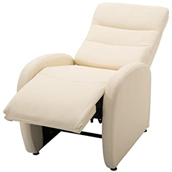 Poltrona Reclinabile Moderna.Homcom Poltrona Relax Reclinabile Con Poggiapiedi Moderna Portata 120kg Ecopelle 67 89 110cm Crema