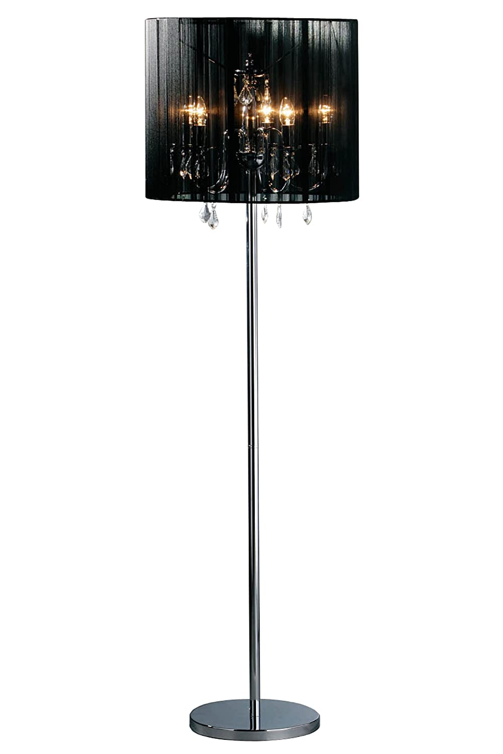 Premier housewares chandelier floor lamp with fabric shade black premier housewares chandelier floor lamp with fabric shade black amazon lighting aloadofball Images