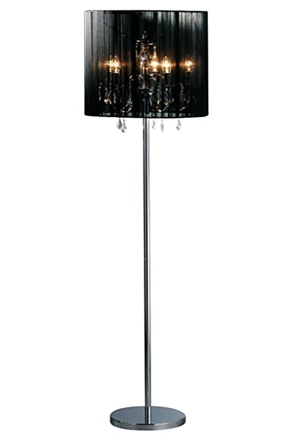 premier housewares chandelier floor lamp with fabric shade black