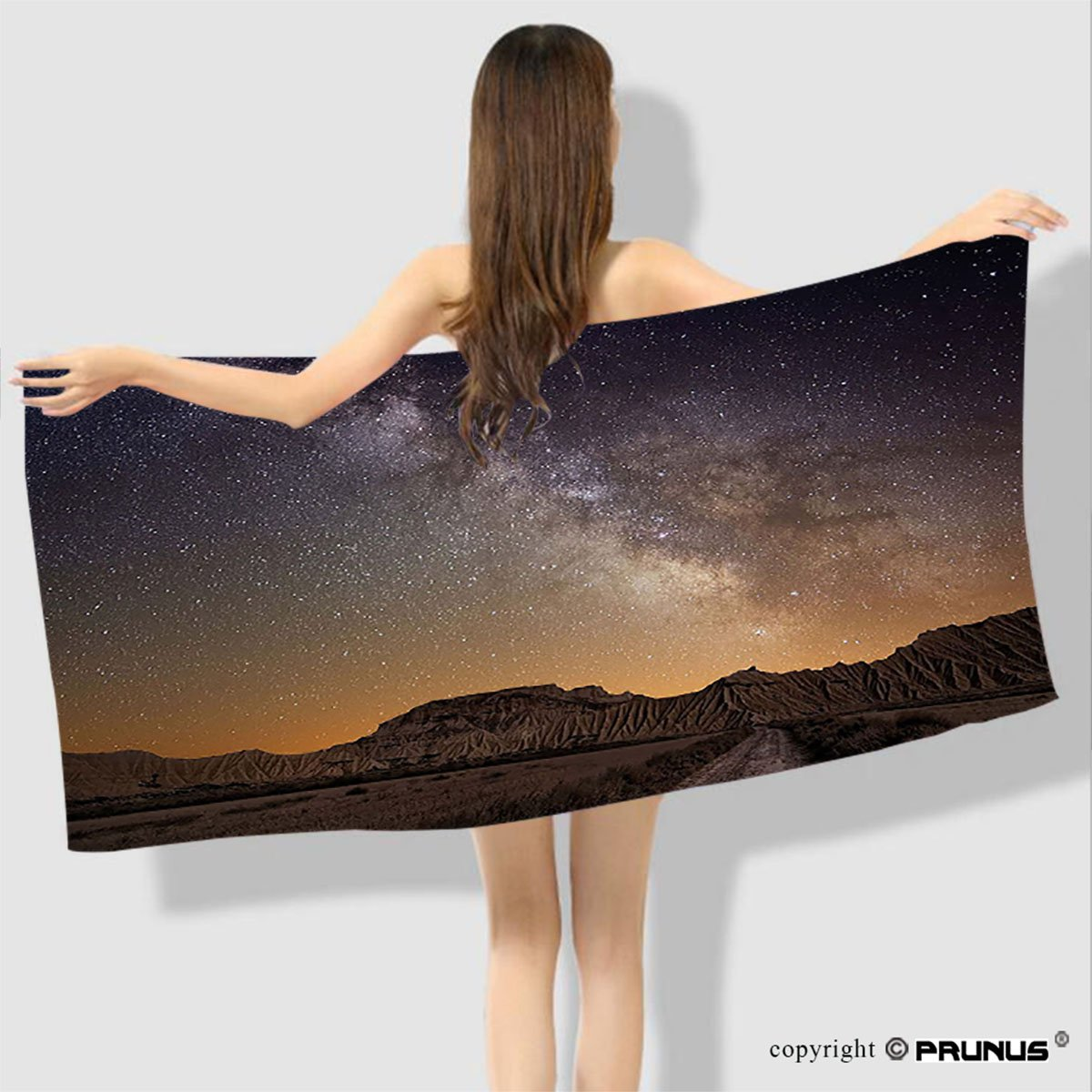 PRUNUS Caribbean Hawaii Seaside Hand Towel Milky Way over Desert of Bardenas Spain Ethereal View Hills Arid Country Bath Towels For Bathroom and Travel Use-63''x31''