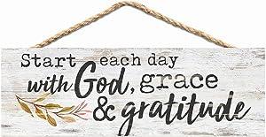 P. Graham Dunn Start Day God Grace Gratitude Whitewash 10 x 3.5 Inch Wood Slat Hanging Wall Sign