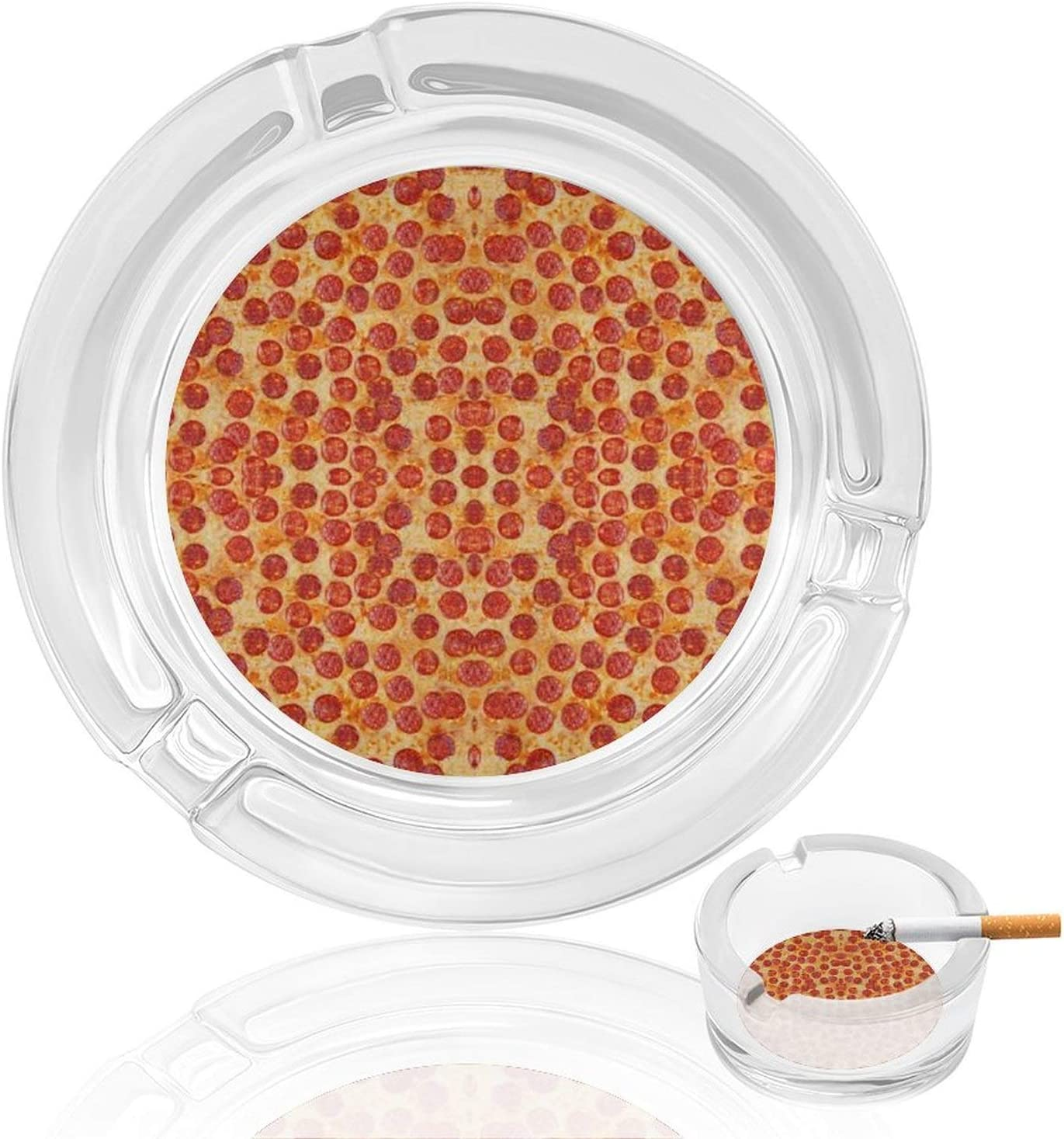 Pizza Pepperoni Unique Food Rainbow Ashtray Glass Round Cigar Cigarette Table Top Smoking Ashtrays Indoor Outdoor Home Office Decor Tabletop Decorative Fancy Cute Cool Ash Tray