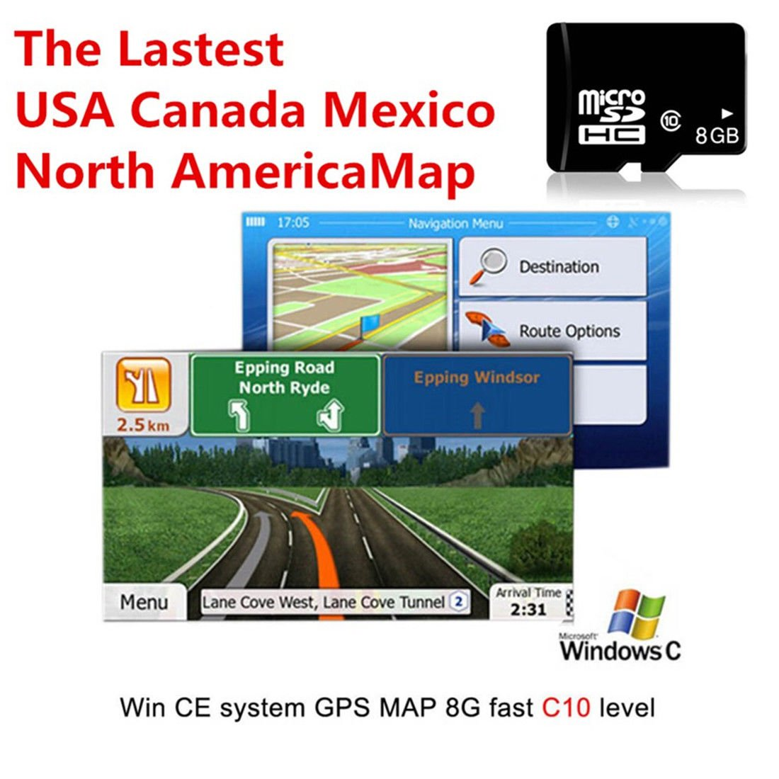FidgetFidget 8GB Micro SD Card Car GPS Navigation Software for Wince + 2017 North America Map