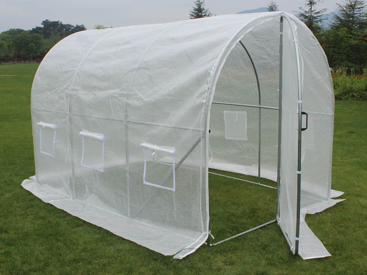 Viva Green 67275 White Garden Polytunnel with a Swinging Door - 6 m² - 3 x 2 x 2 m