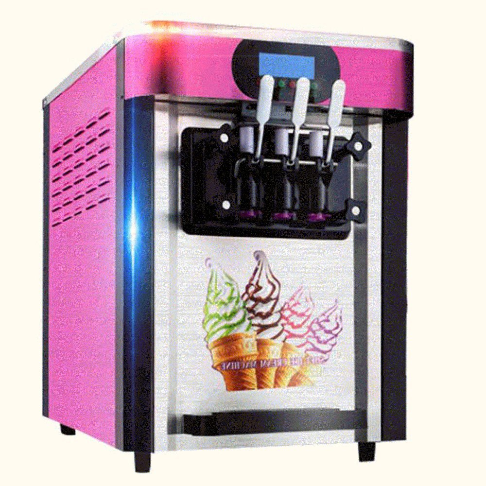 Finlon 3 Flavors Soft Ice Cream Making Machine Stainless Steel 20L/h Frozen Ice Cream Cones Machine with 3 Desktop Small Automatic Drum Ice Cream Machine Without Refrigerant(110v US-Plug)